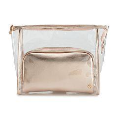 LC Lauren Conrad Rose Gold Colored Saffiano Cosmetic Bag