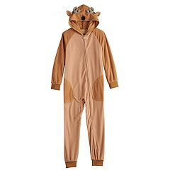Kids 4-20 Jammies For Your Families Reindeer Microfleece One-Piece Pajamas