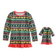 Girls 4-16 Jammies For Your Families Holiday Taco Party Fairisle Nightgown & Doll Gown Pajama Set