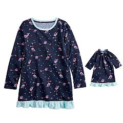 Girls 4-16 Jammies For Your Families Skating Flamingos Nightgown & Doll Gown Pajama Set