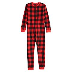 Kids 4-20 Jammies For Your Families Thanksgiving Buffalo Checkered Microfleece One-Piece Pajamas