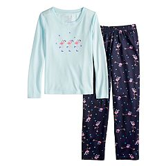 Girls 7-16 Jammies For Your Families Skating Flamingos Top & Bottoms Pajama Set