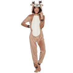 Juniors' Peace, Love & Fashion Hooded Reindeer One-Piece Pajamas