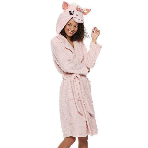 Juniors' Peace, Love & Fashion Unicorn Hood Robe