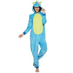 Juniors' Peace, Love & Fashion Hooded Dinosaur One-Piece Pajamas