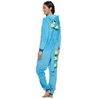 Juniors' Peace, Love & Fashion Hooded Dinosaur One-Piece Pajamas