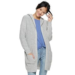 Juniors' Almost Famous Lace-Up Back Hooded Cardigan