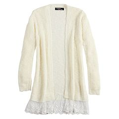 Girls 7-16 & Plus Size Sugar Rush Lace Trim Cardigan