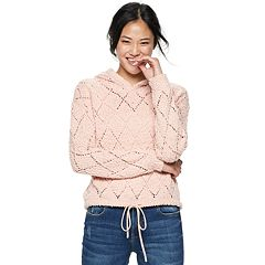 Juniors' Almost Famous Pointelle Sweater Hoodie