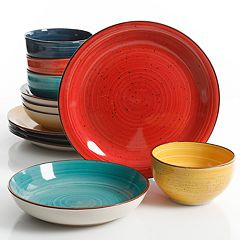 Gibson Elite Color Speckle 12-pc. Mix & Match Double Bowl Set
