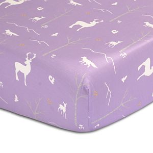 The Peanut Shell Woodland Deer Fitted Crib Sheet