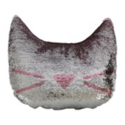 Brentwood Cat Head-Shaped Sequin Throw Pillow