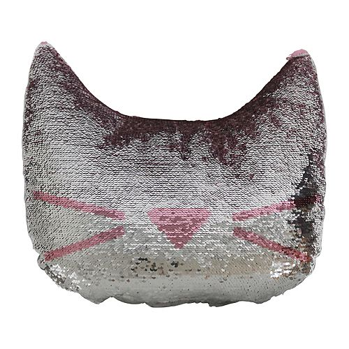 brentwood cat head shaped sequin throw pillow