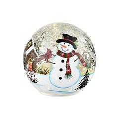 San Miguel Light-Up Snowman Orb Table Decor