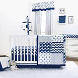 The Peanut Shell Navy Whale Nautical 4-pc. Crib Bedding Set