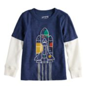 Toddler Boy Jumping Beans® Slubbed Mock Layer Thermal Graphic Tee