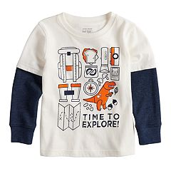 Toddler Boy Jumping Beans® 'Time To Explore' Mock Layer Thermal Graphic Tee