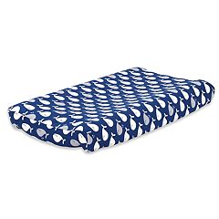 The Peanut Shell Navy Whale Changing Pad Cover