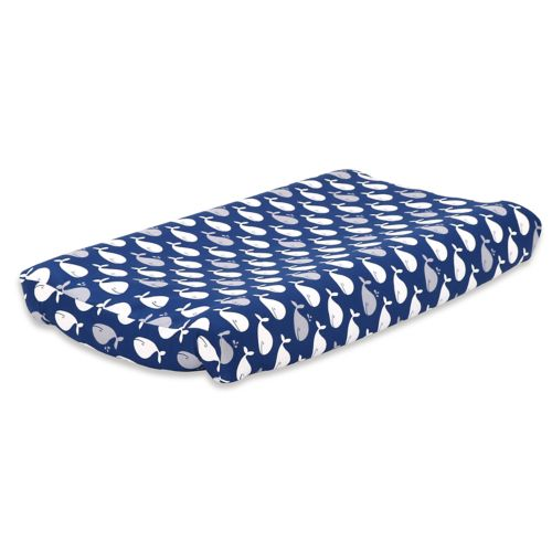 The Peanut Shell Navy Whale Changing Pad Cover by Kohl's