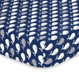 The Peanut Shell Navy Whale Fitted Crib Sheet