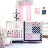 The Peanut Shell Pink Whale Nautical 4-pc. Crib Bedding Set