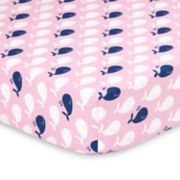 The Peanut Shell Pink Whale Fitted Crib Sheet