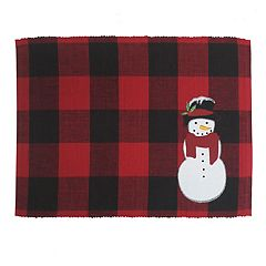St. Nicholas Square® Buffalo Check Snowman Applique Placemat