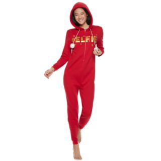 Juniors' Peace, Love & Fashion Hooded Elfie One-Piece Pajamas