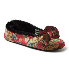 Women's Dearfoams Velvet Bow Ballerina Slippers