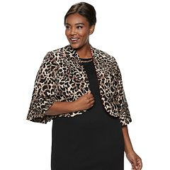 Plus Size Maya Brooke Animal Print Dress & Jacket Set