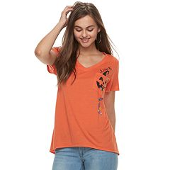 Juniors' Jack-o'-Lantern Pocket Tee