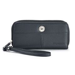 Stone & Co. Pebbled Leather Double Zip Around Wallet