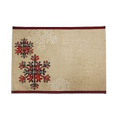 St. Nicholas Square® Snowflake Printed Burlap Placemat