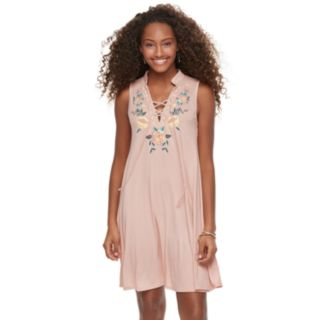 Juniors' Living Doll Lace-Up Floral Swing Dress