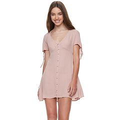 Juniors' Living Doll Button-Front Dress