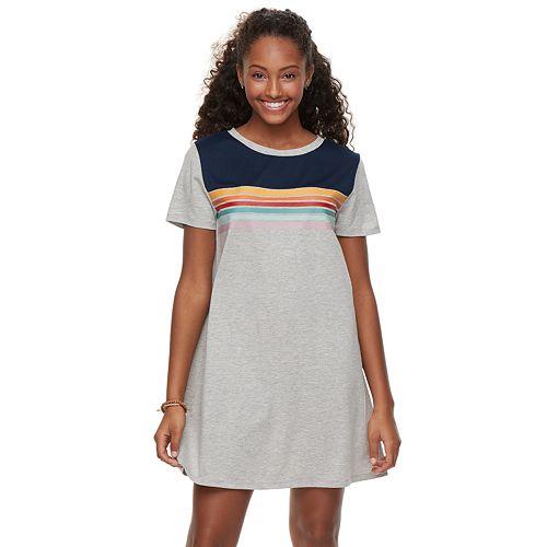 Juniors' Wallflower Striped T-Shirt Dress