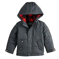 Toddler Boy OshKosh B'gosh® Quilted Plaid Lining Heavyweight Hooded Jacket