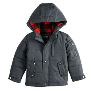 Toddler Boy OshKosh B'gosh® Quilted Plaid Lining Heavyweight Hooded Jacket
