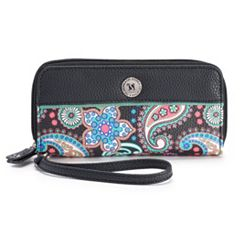 Stone & Co. Paisley Pebbled Leather Double Zip Around Wallet
