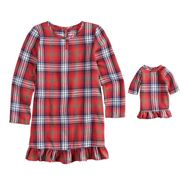 Girls 4 16 Jammies For Your Families Plaid Flannel Nightgown Doll Gown Pajama Set