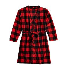 Kids 4-16 Jammies For Your Families Thanksgiving Buffalo Checkered Microfleece Robe