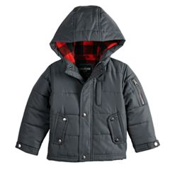 Baby Boy OshKosh B'gosh® Quilted Plaid Lining Heavyweight Hooded Jacket