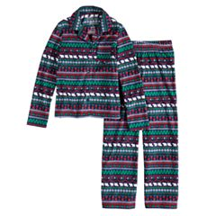 Girls 7-16 Jammies For Your Families Happy Holidays Fairisle Family Pajamas Microfleece Top & Bottoms Set