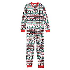Kids 4-20 Jammies For Your Families Fairisle Microfleece One-Piece Pajamas