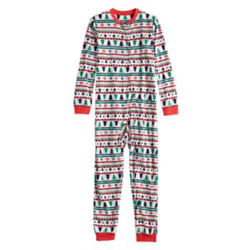 Kids 4-20 Jammies For Your Families Fairisle Microfleece One-Piece Pajamas