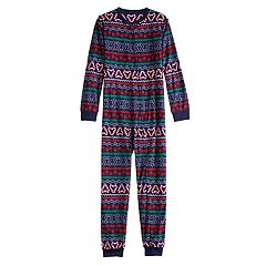 Kids 4-20 Jammies For Your Families Gingerbread Man Holiday Fairisle Microfleece One-Piece Pajamas