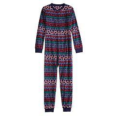 Kids 4-20 Jammies For Your Families Gingerbread Man Holiday Fairisle Microfleece One-Piece Pajamas