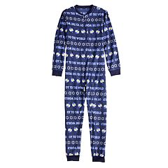Kids 4-20 Jammies For Your Families Hanukkah 'Oy to the World' Microfleece One-Piece Pajamas