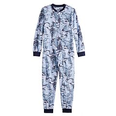 Kids Jammies For Your Families Holiday Camouflage Microfleece One-Piece Pajama Set