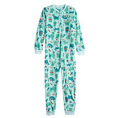 Kids 4-20 Jammies For Your Families Microfleece Dog & Cat Pattern One-Piece Pajamas